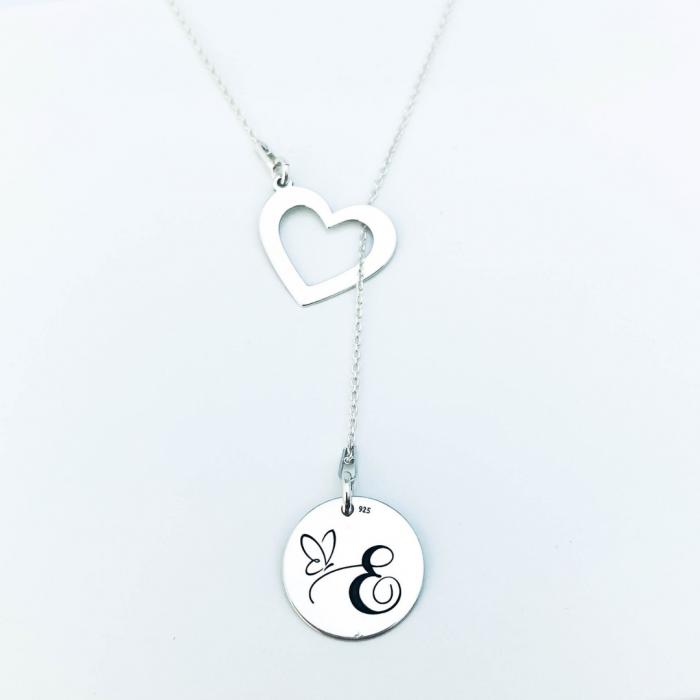 Lantisor argint asimetric gravat charm inimioara [1]
