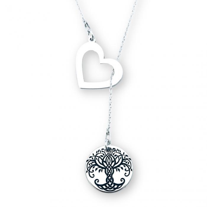 Lantisor argint asimetric gravat charm inimioara Copacul Vietii [0]