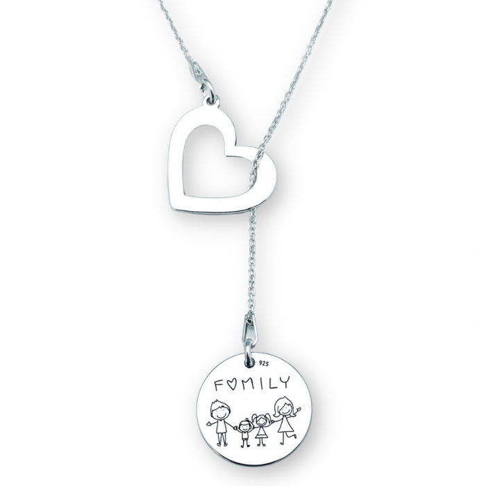 Lantisor argint asimetric gravat charm inimioara Family [0]