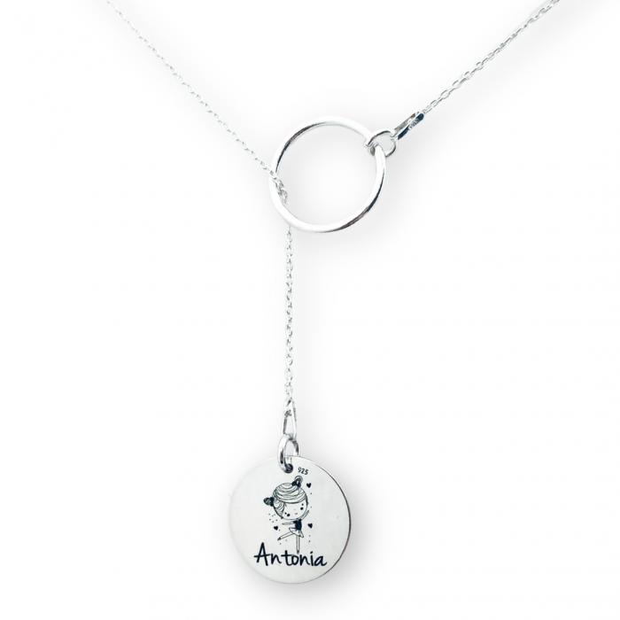 Lantisor argint asimetric gravat Nume si Simbol [0]