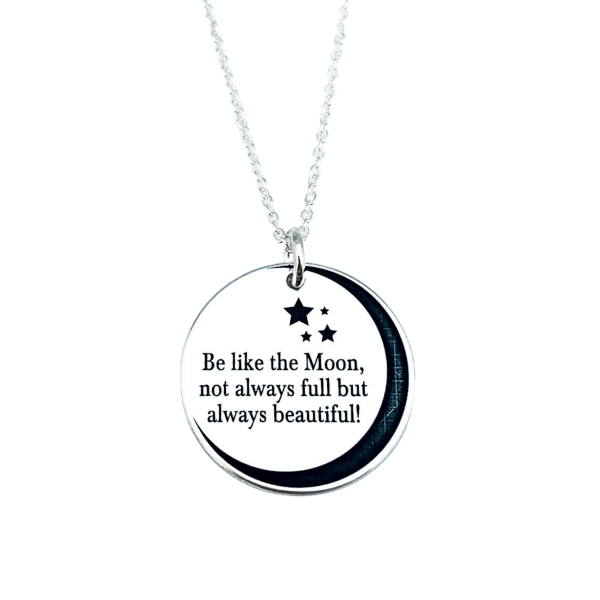 Lantisor personalizat argint gravat Be like the Moon 0