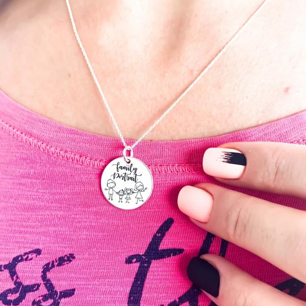 Colier Family personalizat argint cu nume si simboluri 1