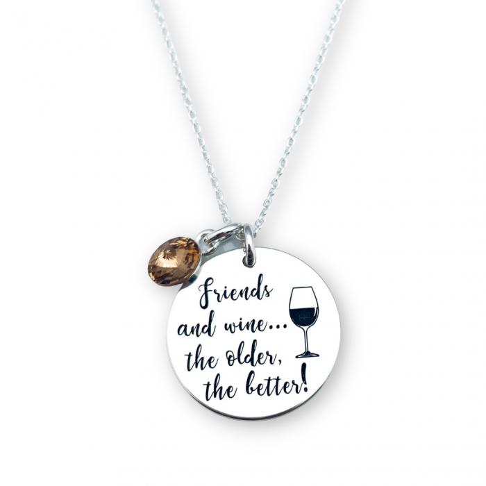 Colier de argint personalizat Friends and Wine [0]
