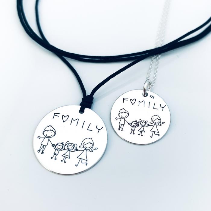 Colier argint gravat snur textil Family - Personally ME [1]