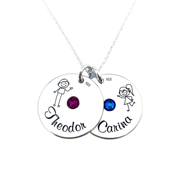Colier argint personalizat, Banuti Simbol Cristale Swarovski si Nume [0]