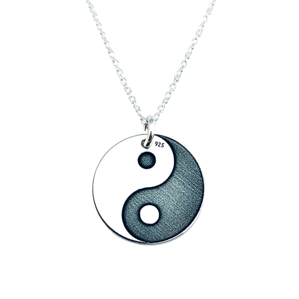 Lantisor cu banut argint personalizat Yin si Yang 0