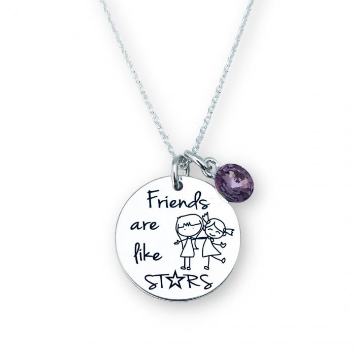 Colier de argint personalizat Friends are like Stars - Personally ME [0]