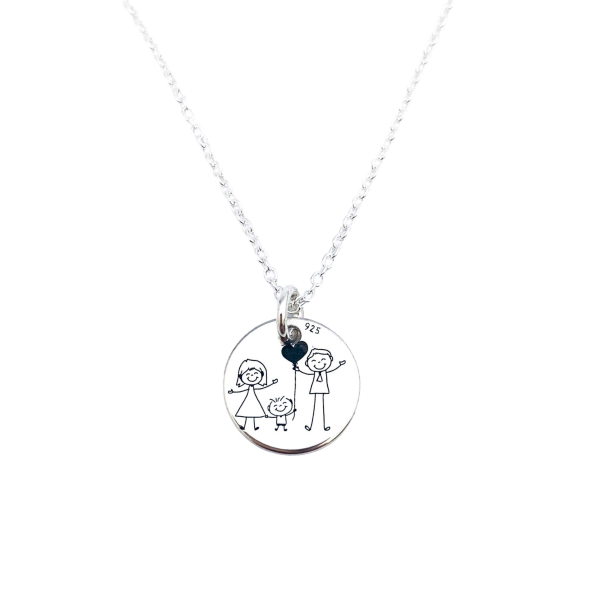 Lantic personalizat din argint cu simbol Happy Family 0