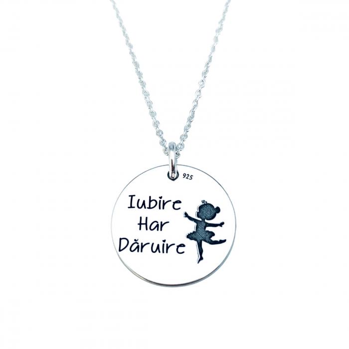 Lantisor cu banut argint personalizat Iubire, Har, Daruire 0