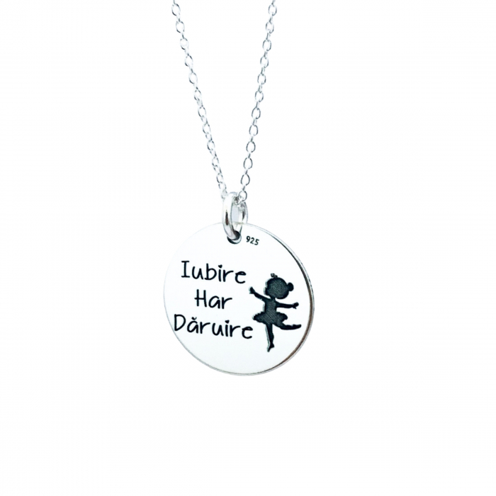 Lantisor cu banut argint personalizat Iubire, Har, Daruire 1