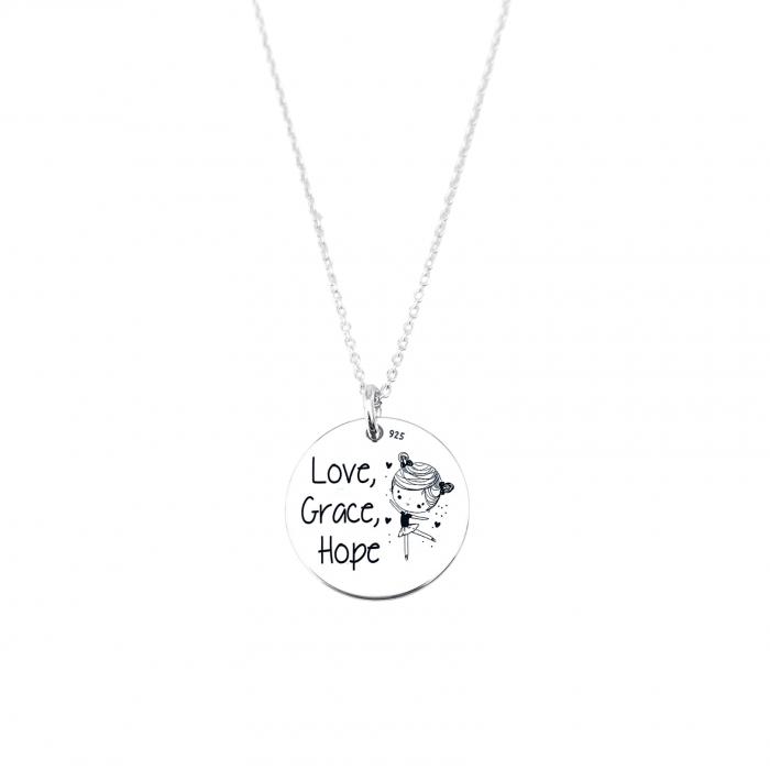 Lantisor cu banut argint personalizat Love, Grace, Hope 0