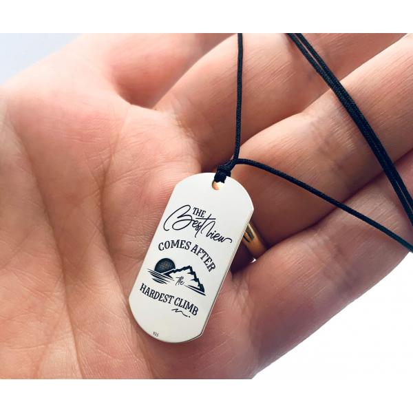 Colier placuta Army argint personalizat pentru barbati [1]