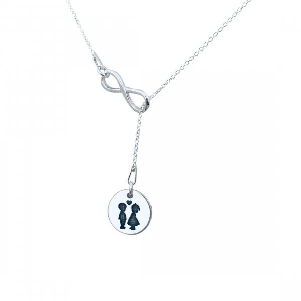 Lantisor argint dama personalizat charm infinit 1