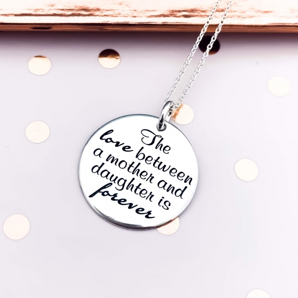 Lantisor mama-fiica personalizat din argint Mother & Daughter Love 1