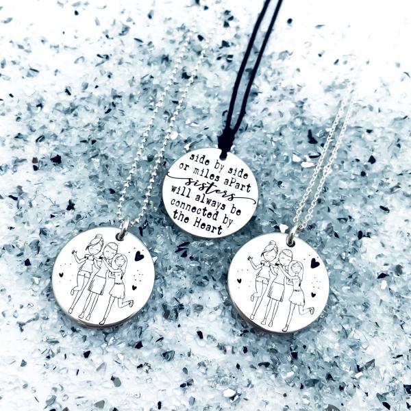 Colier personalizat din argint cadou surori 1