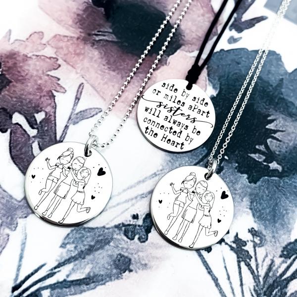 Colier din argint gravat Sisters 2