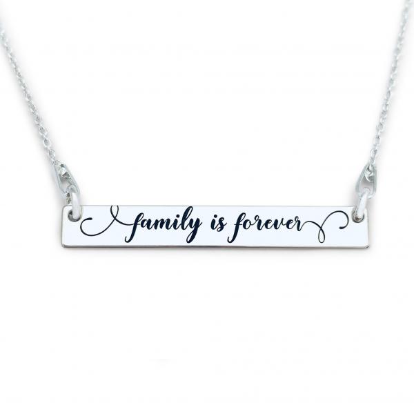 Lantisor argint gravat cu mesaje Family is forever 1