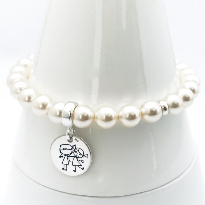 Set bijuterii din argint personalizate, cu charm argint Siluete Copiisi Cercei Perle 1