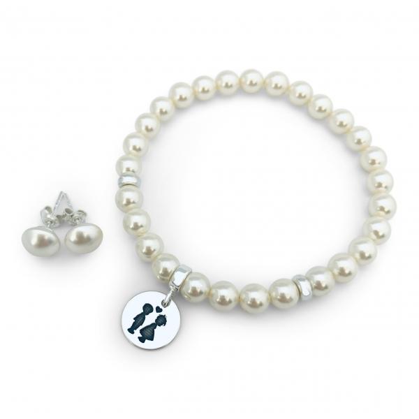 Set bijuterii din argint personalizate, cu charm argint Siluete Copiisi Cercei Perle 0