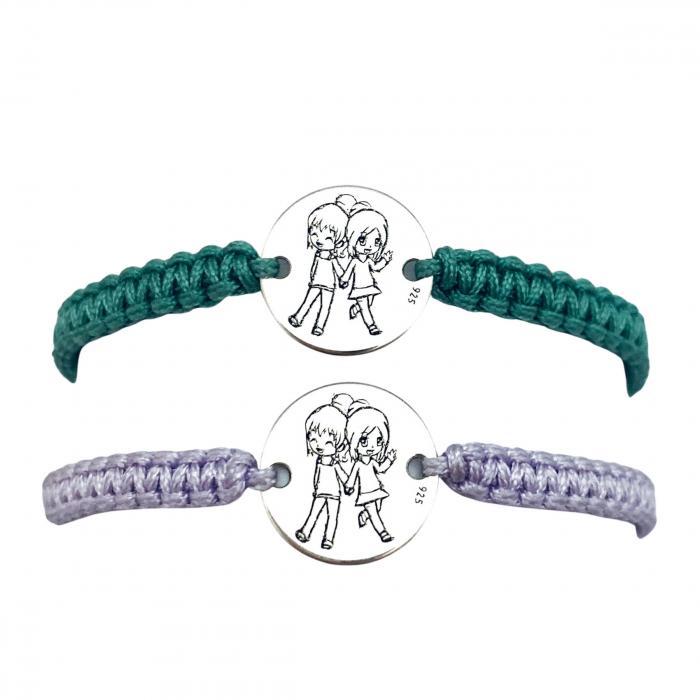 Set Bratari personalizate argint, snur impletit reglabil Sisters Forever 0