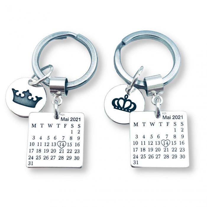 Set brelocuri personalizate din argint pentru cuplu - Cadou nunta [0]