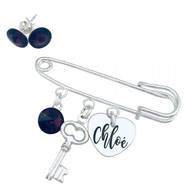 Set Brosa personalizata pandantiv argint, cristal, charm & Cercei Swarovski Heart & Key 0