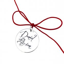 Banut argint pentru botez/ taiere mot personalizat Mesaj si Simbol1