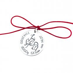 Banut argint pentru botez/ taiere mot Un an - Nume & Simbol1