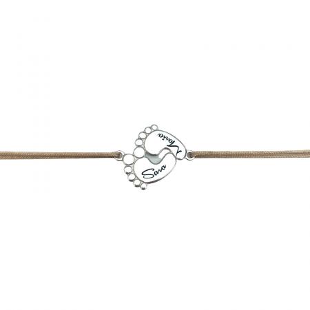 Bratara argint personalizata snur reglabil Talpite Bebelus0