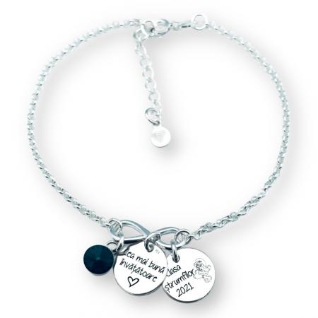 Cadou Invatatoare - Bratara argint personalizata cu charm infinit [0]