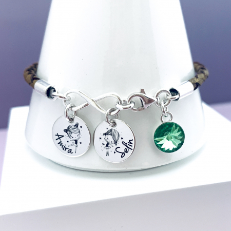 Bratara personalizata argint, charm infinit si cristal Swarovski Lovely Children0