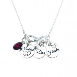 Colier personalizat Banuti argint, charm infinit si cristal Swarovski - Nume & Simbol0