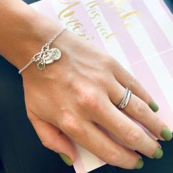 Bratara personalizata argint cu Banuti argint, charm infinit si cristal Swarovski Sisters1