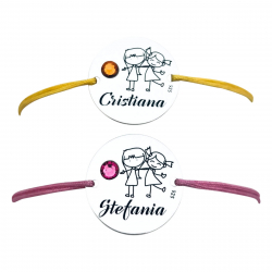Bratara copii gravata, banut argint snur reglabil, cristal - Nume & Simbol [1]