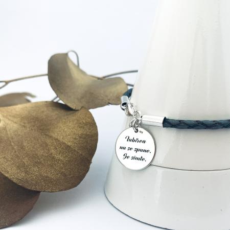 Bratara personalizata argint, snur din piele naturala - Iubirea...1