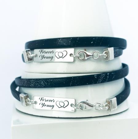 Bratara personalizata argint snur plat piele naturala - Forever Young [1]