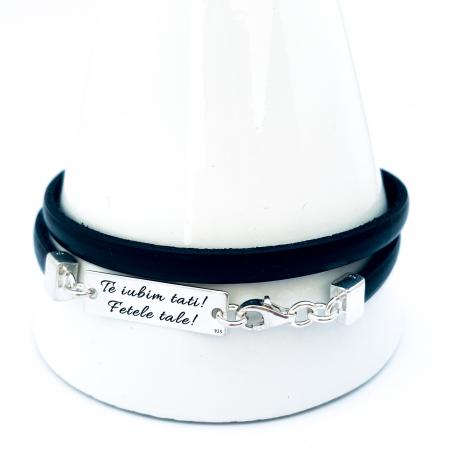 Bratara personalizata argint, snur plat piele naturala - Te iubim, tati!0