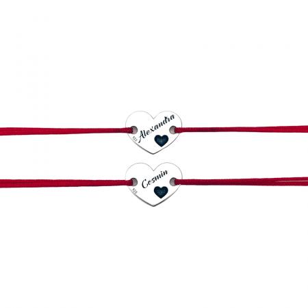 Set bratari personalizate cuplu din argint, snur reglabil, pandantiv inimioara Personally ME [0]