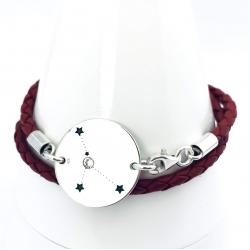 Bratara personalizata argint, snur din piele naturala Constelatii1