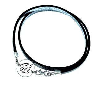 Bratara personalizata argint, snur plat piele naturala Sir0