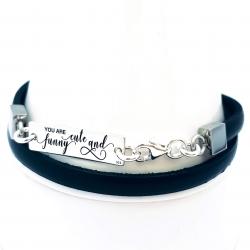 Bratara personalizata din argint 925, snur plat din piele naturala You are1