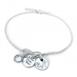 Bratara personalizata argint cu Banuti argint, charm infinit si cristal Swarovski Sisters2