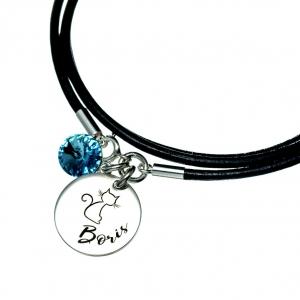 Bratara personalizata argint, snur din piele naturala Simboluri simpatice1