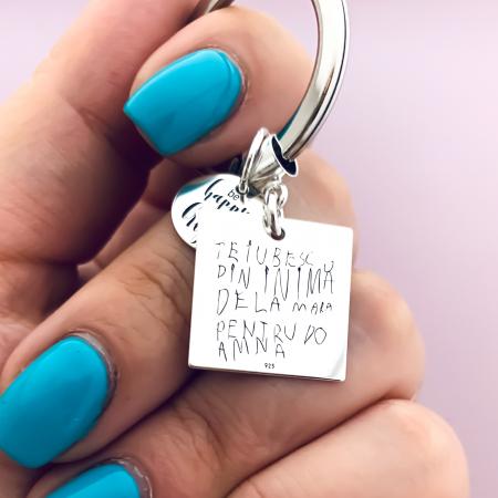 Breloc personalizat argint Mesaj te iubesc [0]