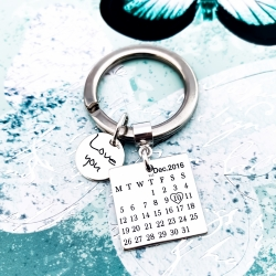 Breloc personalizat argint Calendar si Mesaje2