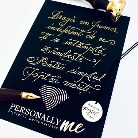 Felicitare caligrafiata cu mesaj special cadou - Prietenii sunt ca stelele...10