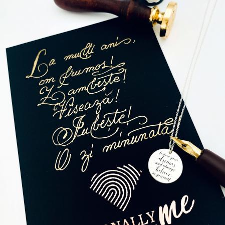 Felicitare caligrafiata cu mesaj special cadou - Prietenii sunt ca stelele...11