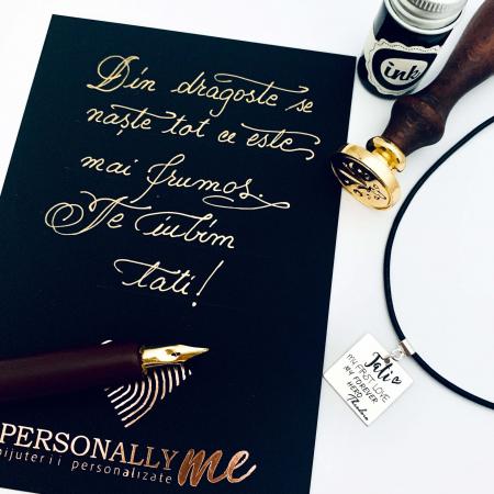 Felicitare caligrafiata cu mesaj special cadou - Te iubim, tati0