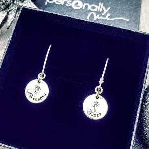 Cercei argint personalizati cu Nume1