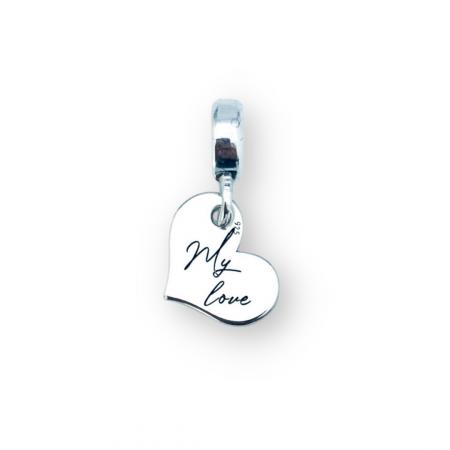 Charm argint inimioara personalizat My Love
